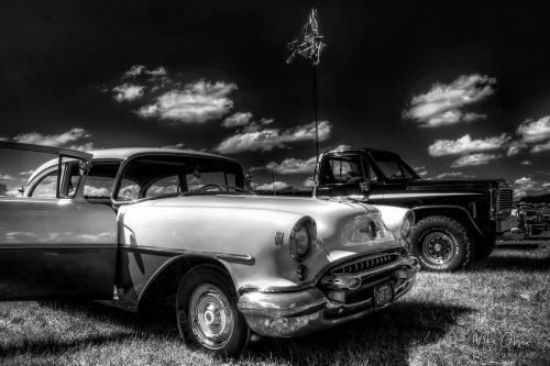 American car show hdr b&w