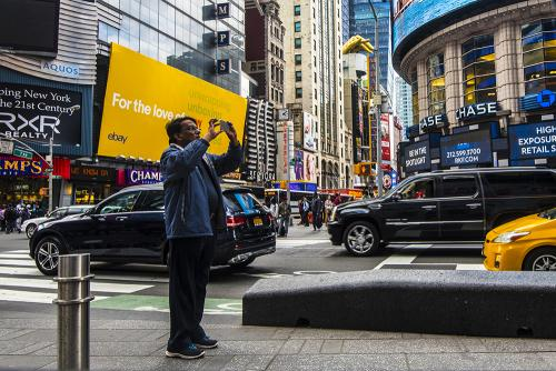 Another Times Square tourist with a camera 12x