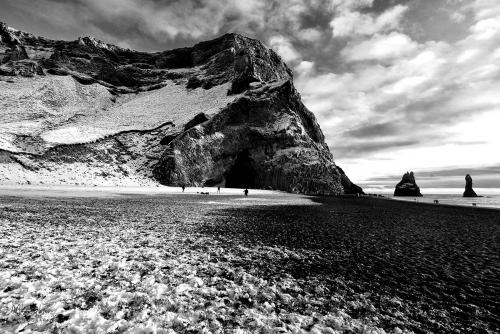 Black Beach white snow, Iceland