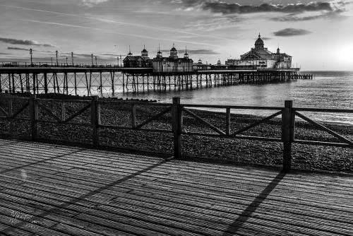 Eastbourne pier sunrise b&w