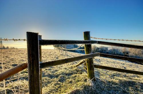 Fiels with posts in frost HDR