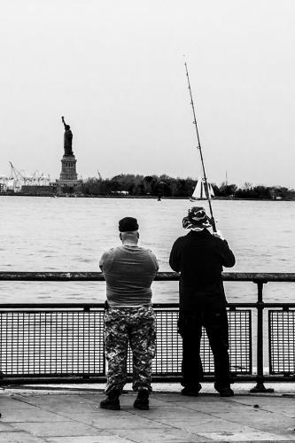 Gone Fishing New York style detail B&W 12x