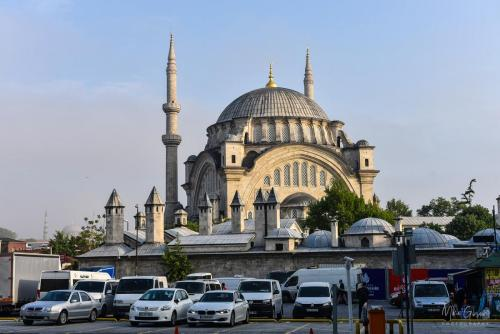 Istanbul car park with mosque