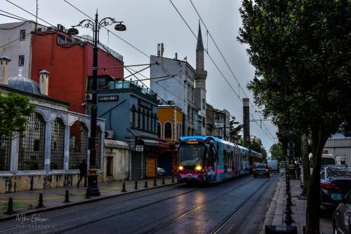 Istanbul street 2 early morning with tram mgp
