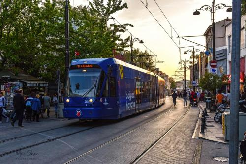 Istanbul street with blue tram 1800 mgp