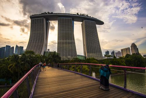 Marina Bay Sands from brodge in park 12x8