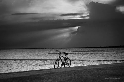 Mississippi beach with bike 12x