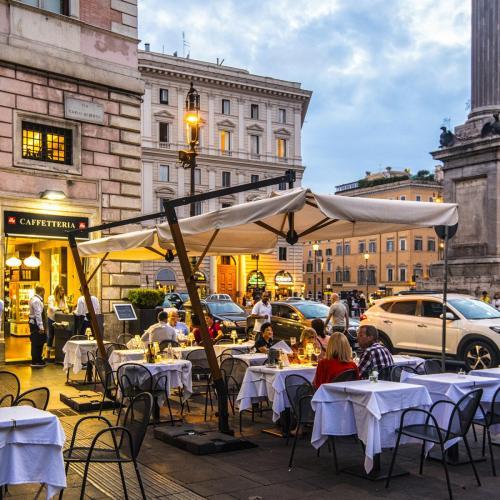 Rome cafe dusk 12x12
