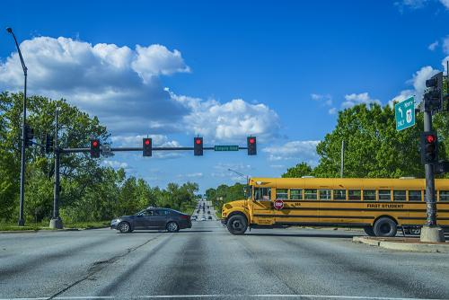 School bus at Gregory Blvd intersection - Kansas City 12x