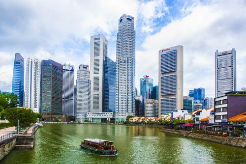 Singapore river with ferry 12x8