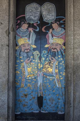 Temple door panel George Town Penang 12x