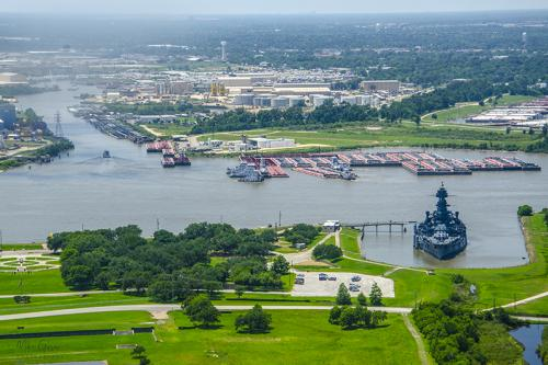 View from San Jacinto Monument with HMS Texas 12x