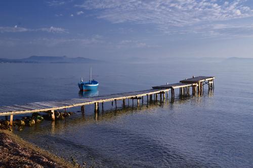 corfu jetty and boat