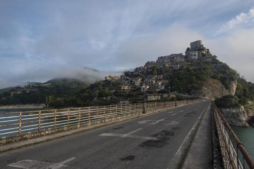 Castel di Tora at sunrise from bridge 3 mgpx