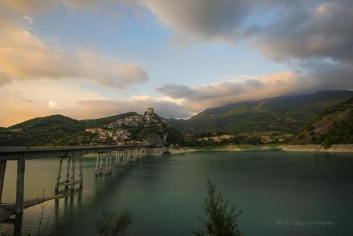 Castel di Tora sunset with bridge mgpx