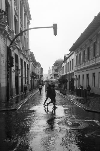 Wet street Quito, Ecuador